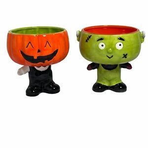 FRANKENSTEIN & PUMPKIN HEAD Halloween Candy Dish Ceramic NEW