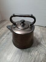 Vintage McCOY Pottery Bronze Teapot Cookie Jar Metallic With Lid Hammered