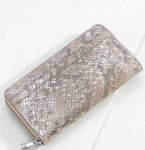 Silpada Margeaux Wallet F0014 Suede Leather Animal Snake Print New Old Stock