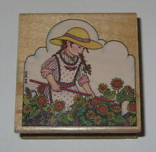 She Who Loves A Garden Rubber Stamp Mary Engelbreit Sunflowers Gardening Hat
