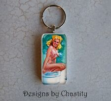 Pinup GIrl Keychain Sexy Blonde In A Bubble Bath Tub Pin Up Girl Domino Charm