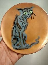 Nice  mid century Annemarie Davidson enamel copper cat plate 6 1/8 inches