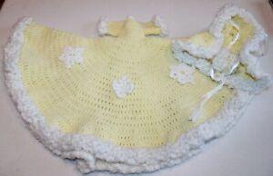 handmade crochet knitted doll dress, hooded cape & muff yellow/white