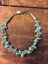 Turquoise Bracelet Liquid Sterling Silver Signed 7 Inch