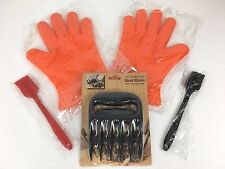 NEW Barbecue Gloves BBQ Silicone Heat Oven w/ 2 Basting Brushes & Meat Claw Set