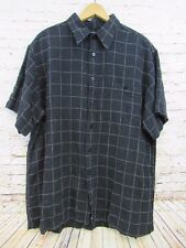 Marc Edwards Mens Black Chekered Casual Short Sleeve Button Front Shirt Size XL