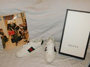 GUCCI WHITE LEATHER AND GREEN CROC PRINT LEATHER SNEAKERS SIZE 7