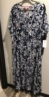 Woman Within 3X 30/32 Rayon Crinkle Dress Long Modest Blue Floral V Neck NWT