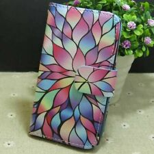 1x Colored Lotus Wallet Card Holder Flip TPU Case Cover for Variou Smart Phone