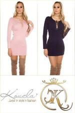 Sexy KouCla Strick Minikleid Longpulli Kleid Schnürung XS S M 34 36 38