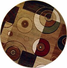 "Modern Block Area Rug 8x8 Contemporary Geometric Ring - Actual 7'10""x7'10"" Round"