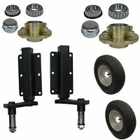 "350kg Trailer Suspension Unit (Pair) & Cast Wheel Hubs & 400 - 8 Wheels 4"" PCD"