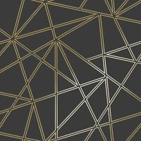PALADIUM GEOMETRIC WALLPAPER BLACK / GOLD - HOLDEN 90114 NEW