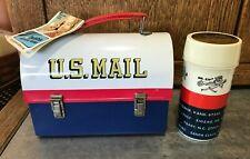 Vtg 1960s NOS NWT U.S. Mail Aladdin Metal Lunch Box LunchBox w/ Thermos & Tag