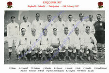 "ENGLAND 1937 (v Ireland) 12"" x 8"" RUGBY TEAM PHOTO PLAYERS NAMED"