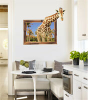 3D Giraffe Photos Room Home Decor Removable Wall Stickers Decals Decoration*