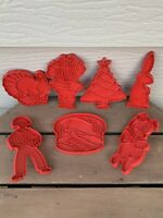 7- VTG Red Plastic Tupperware Cookie Cutters 1960s Xmas Fall Rabbit Cake Pig F/S