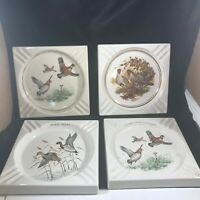 Lot of 4 Vintage HYALYN Ceramic Advertising Ashtrays Quail Ducks