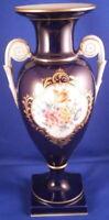 Stunning Meissen Porcelain Cobalt Blue & Floral Amphora Vase Porzellan German