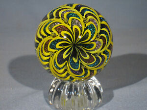 Marbles: Hand Made Art Glass James Alloway Dichroic Yellow #3124     2.73inch