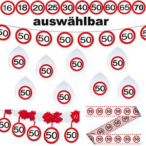 Deko Set 16.18.20.25.30.40.50.60.65.70. Geburtstag Verkehrsschild Dekoration