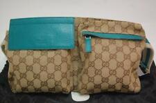 Gucci Canvas Monogram Waist Belt Bum Bag Fanny Pack  1019a