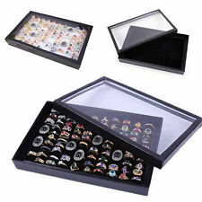 Black 100 Ring Jewellery Display Storage Box Tray Show Organiser Earring Holder