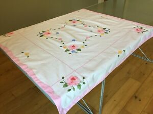 Pink Original Vintage Hand Appliqued Tablecloth Hand Worked Embroidery 107x105cm