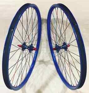 TNT BICYCLES, BMX WHEEL SET - 20, 24, 26, 29 INCH - RED & BLUE