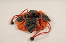 Japanese Tomato Shaped Small Orange and Green Chirimen Tote Bag with Drawstring