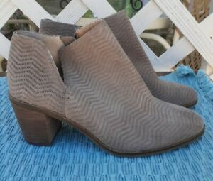 Lucky Brand Pickla Ankle Boots Womens Size 7.5M Taupe Leather Side Zip Notched