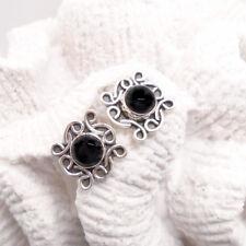 Onyx rund schwarz Nostalgie Design Ohrringe Ohrstecker 925 Sterling Silber neu