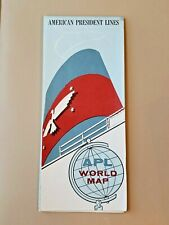 Vintage American President Lines Cruise Ship World Map 1958