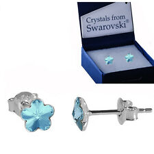 925 STERLING SILVER STUD EARRINGS FLOWER *AQUAMARINE* Crystals from Swarovski®