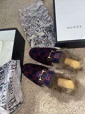 New With Box Authentic Gucci Gg Princetown Velvet Fur Mule Size 8 Blue Red