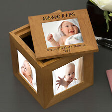 Oak Photo Keepsake Cube Box Personalised Engraved Picture Gift Album Any Message