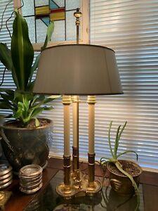 Vintage Original Stiffel French Brass Bouillotte Lamp 3 Way Candlestick Lights