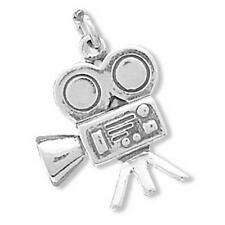 Movie Camera Charm Sterling Silver Pendant Vintage Style