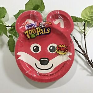 MIP! Vintage 2001 Hefty RED FOX Zoo Pals-24 Coated Paper Plates-SEALED-RARE!