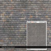 5 x SHEETS MIXED GREY SLATE ROOF TILES N GAUGE MODEL RAILWAY BUILDINGS TX184-N