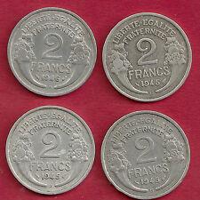 4 MONNAIES BELLES ET RARES 2 FRANCS MORLON ALU 1945 B 1945 C ET 1946 B