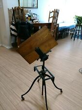 Antique Music Stand Or Other Book. Cast Iron And Oak Adjustable Height