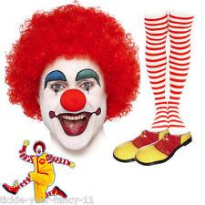 Unisex Ronald Mcdonald Payaso Kit Peluca Maquillaje Y Nariz Zapatos calcetines Fancy Dress Costume