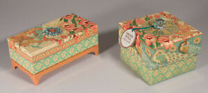 New Punch Studio Set of 2 Peach Decorative Boxes w/ Candle & Scented Soaps
