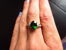 10K Yellow Gold Russian Chrome Diopside and Diamond Ring Size 7