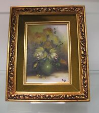 Beautiful Painting of Green Roses in a Green Vase by Hugo