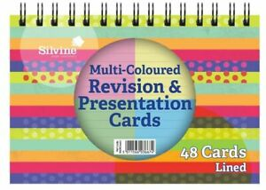 MULTICOLOURED 48 REVISION PRESENTATION CARD DOUBLE SIDED LINED 152x120mm SILVINE