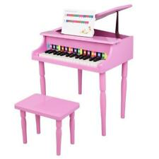 More details for new 30 key kids wooden keyboard mini grand piano with stool musical toy pink