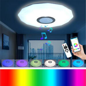 Smart Dimmable LED Music Ceiling Light Bluetooth Speaker RGB Stars with Remote