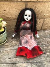 OOAK Black Red Hair Hollow Eye Sitting Creepy Horror Doll Christie Creepydolls